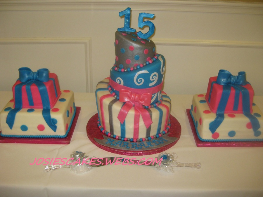 Topsy Turvy Sweet 15 Cake Hot Pink / Silver on Cake Central