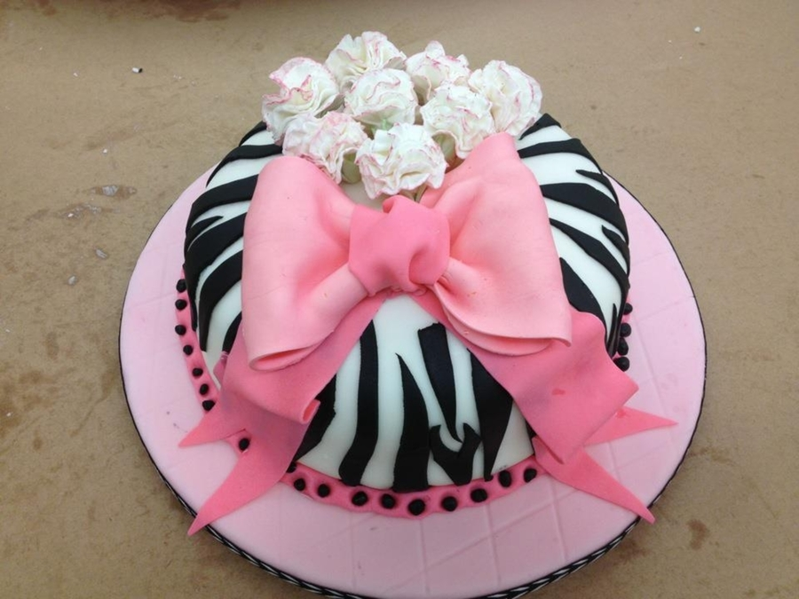 Zebra Cake With Flowers on Cake Central