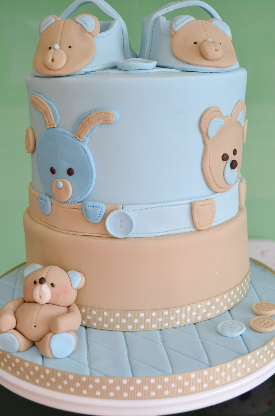 Baby boy christening cake with matching cupcakes inspired by the wonderful work of deborah hwang - Baby baptism cake ideas ...