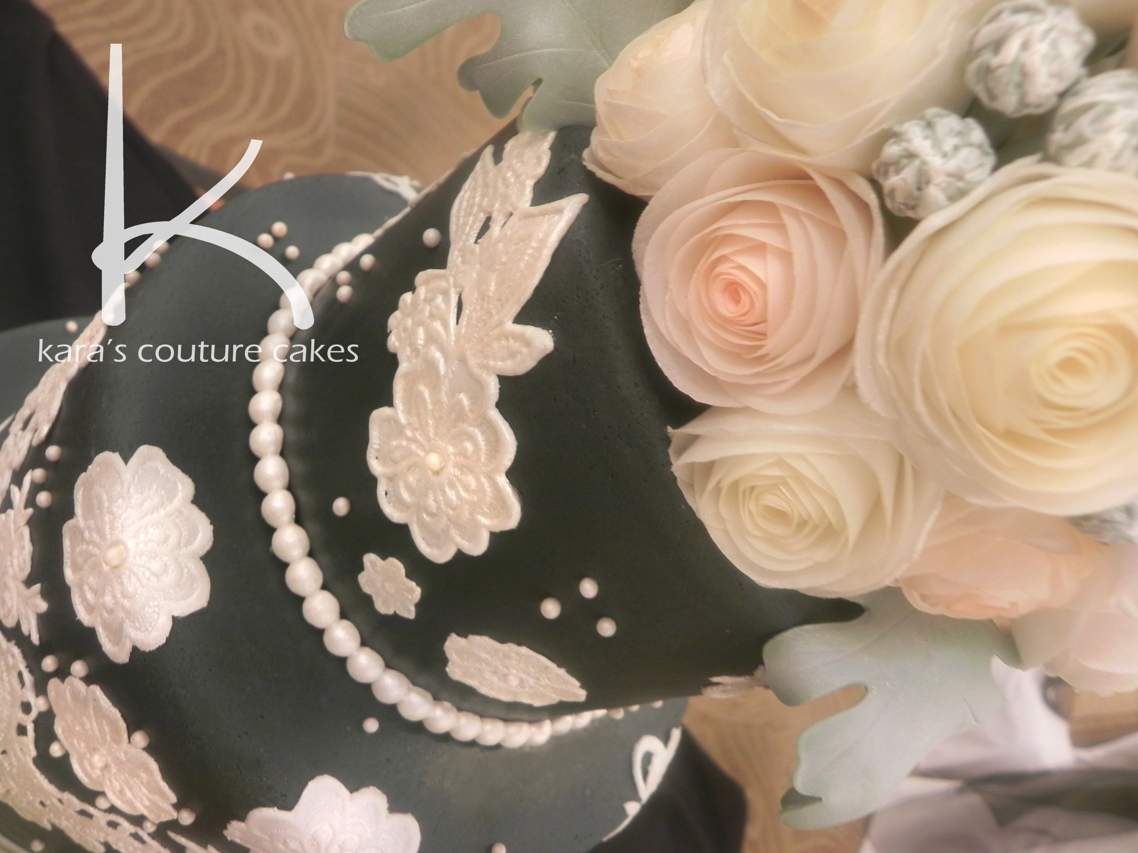 Gray, Vinatge Lace, And Wafer Roses Wedding Cake ...