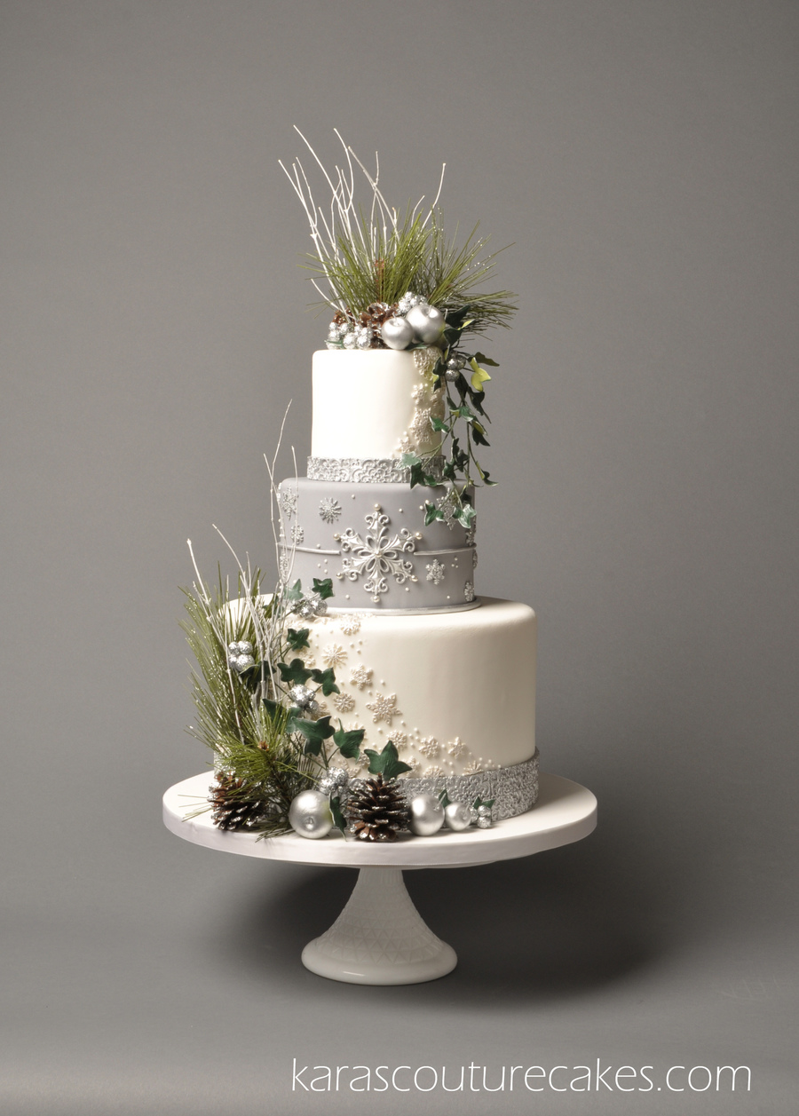 Silver Themed Wedding Cakes