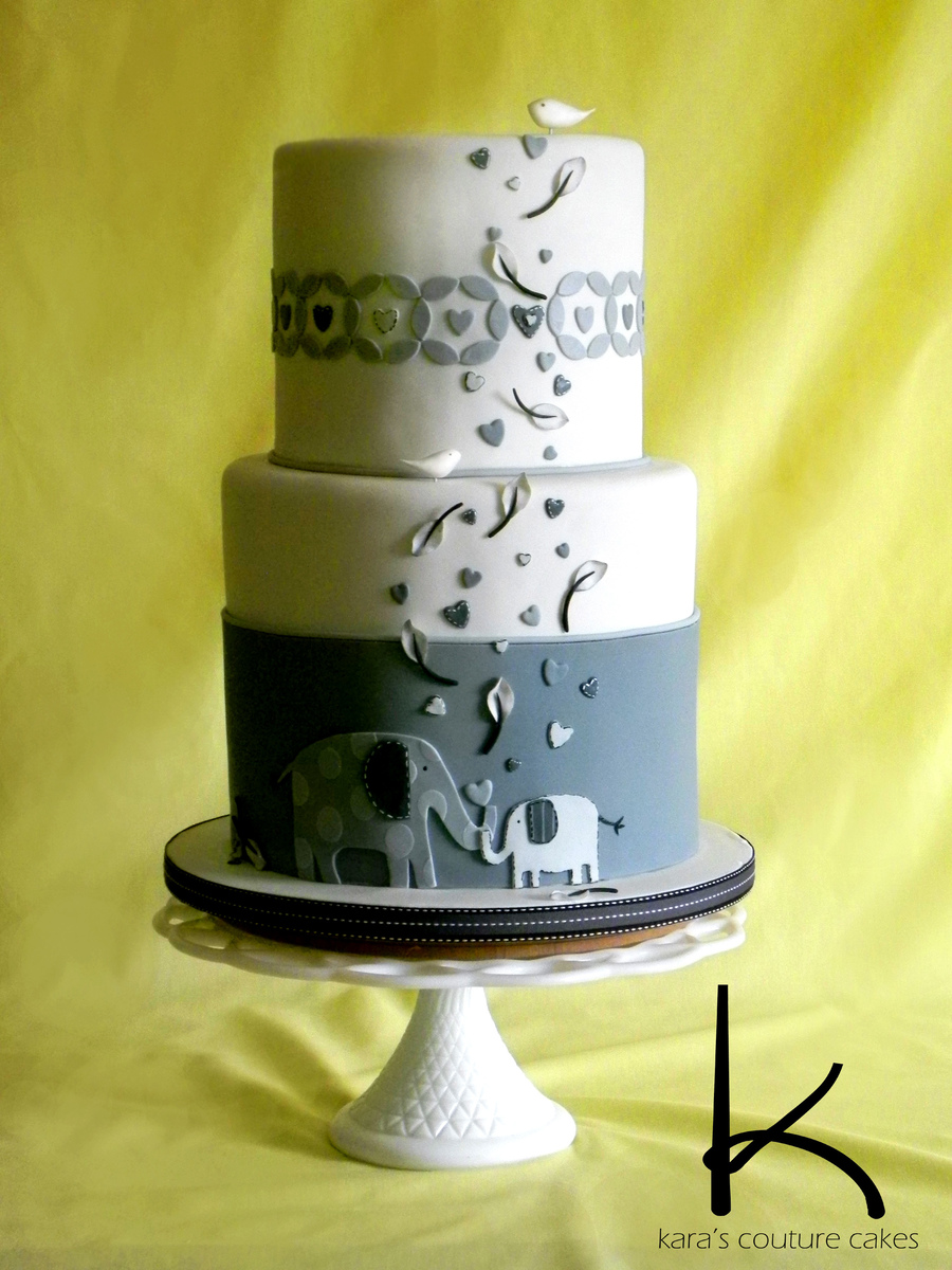Elephant Themed Baby Shower Cake Two Double Barrel Tiers