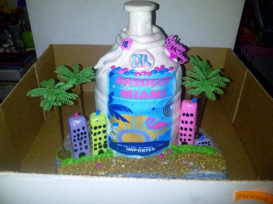 Absolut Vodka Bottle Miami Edition Cake - CakeCentral.com