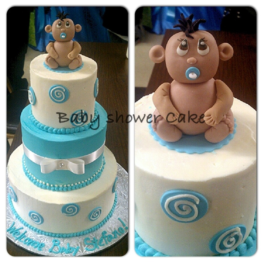 Baby Shower Cake I Hand Molded The Baby Topper on Cake Central
