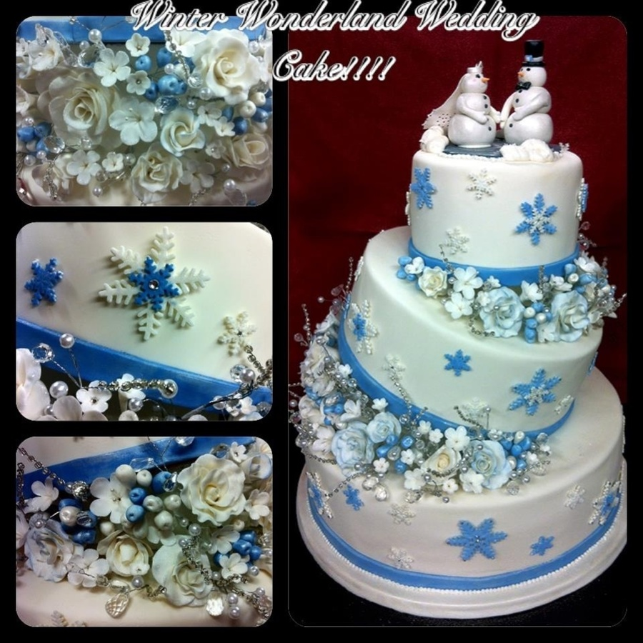 Winter Wedding Cake Everything Is Edible Except The Filler Beads And Gems Gum Paste Flowers And Fondant Bride And Groom Sitting On Poured on Cake Central