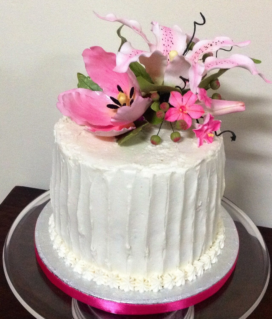 Buttercream Birthday Cake With Gumpaste Flowers CakeCentralcom