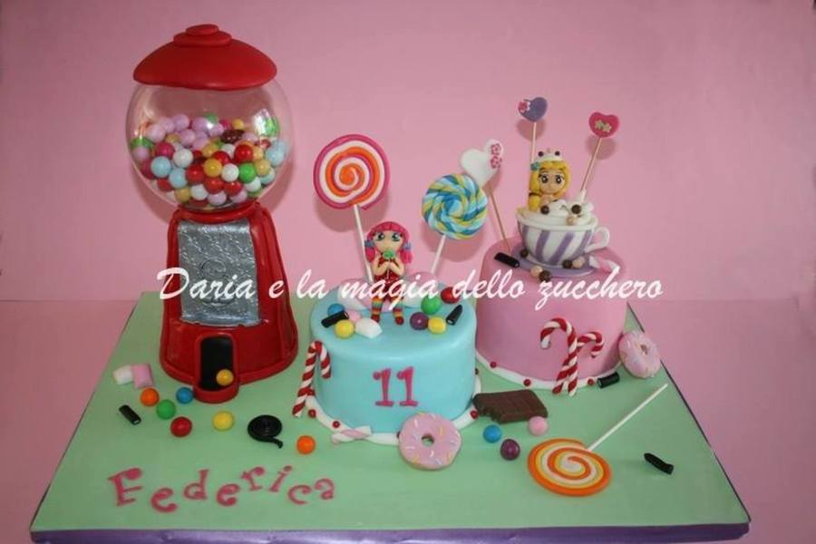 Gumball Machine And Candy Cake on Cake Central
