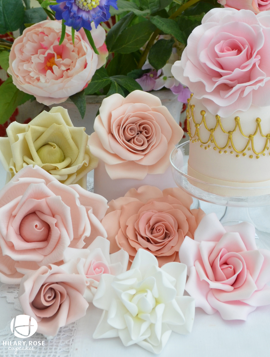 Summer Gum Paste Roses on Cake Central