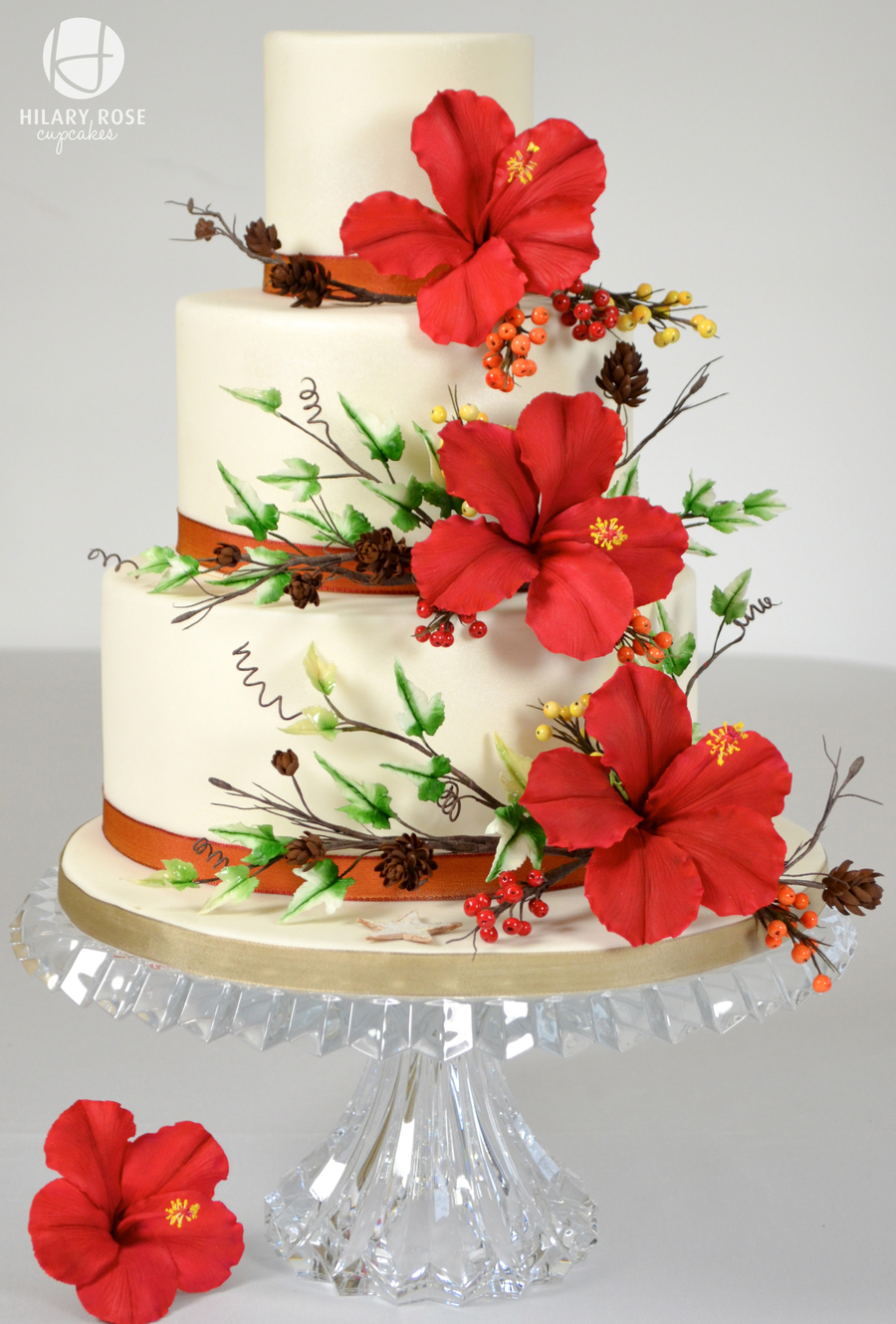 hibiscus wedding cakes hibiscus winter wedding larch cones winter berries and 15222