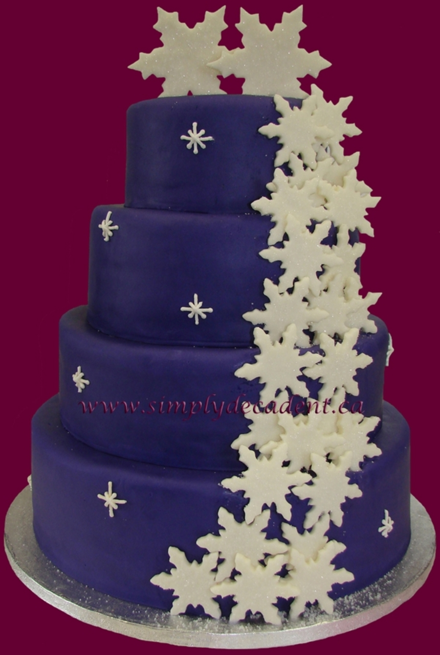 Purple Snow Flake Wedding Cake on Cake Central