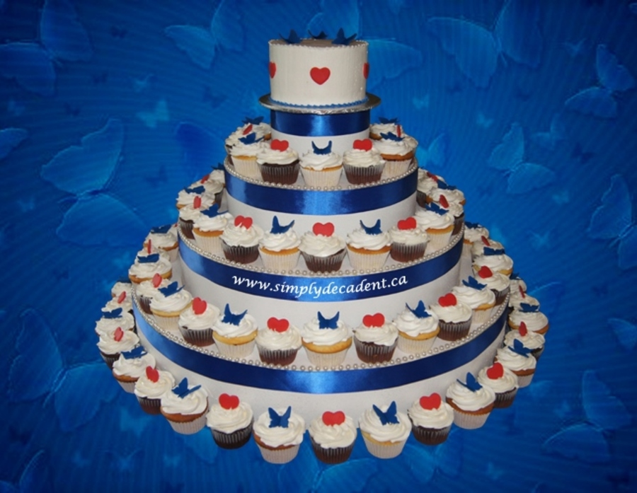 Wedding Cupcakes Buttercream With Blue Fondant Butterflies And Red Fondant Hearts on Cake Central
