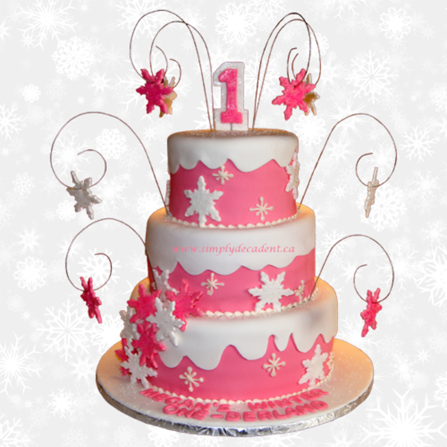 3 Tier Fondant 1st Birthday Cake With Silver Sprays Displaying Pink
