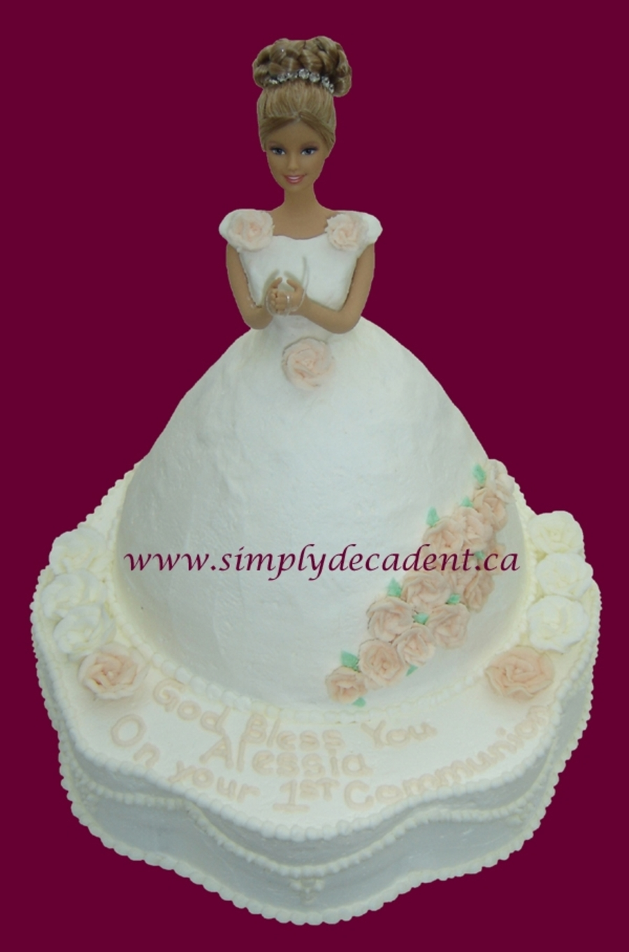 1St Communion Barbie Cake on Cake Central