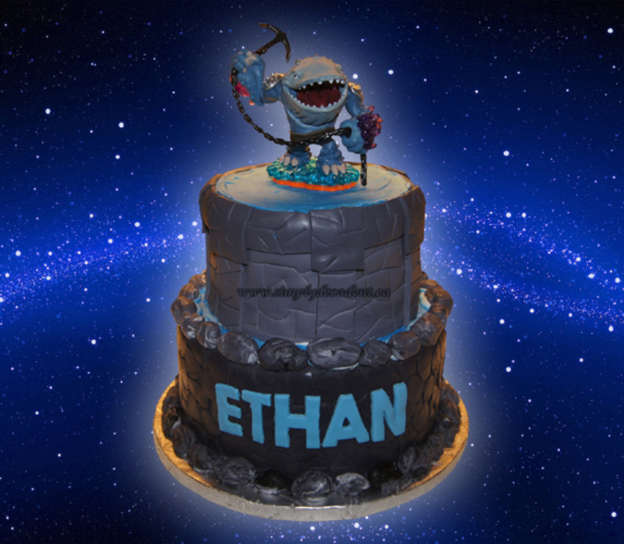 Sensational 2 Tier Fondant Skylander Portal Birthday Cake With Thumpback Personalised Birthday Cards Veneteletsinfo