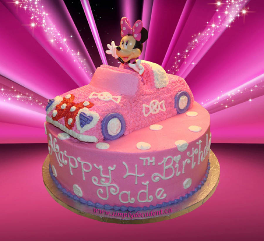 3D Minnie Mouse Car On A 12 Round Cake on Cake Central