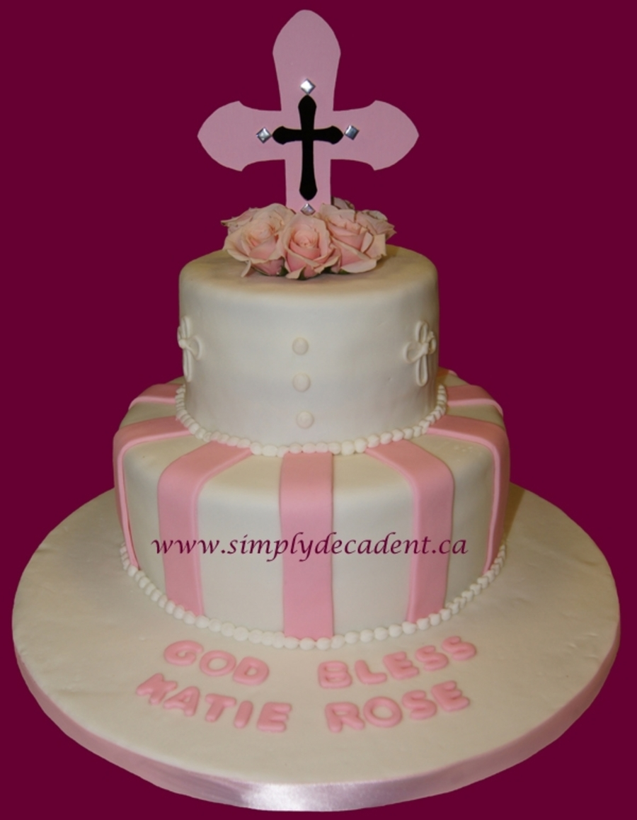 1St Communion With Pink Cross on Cake Central
