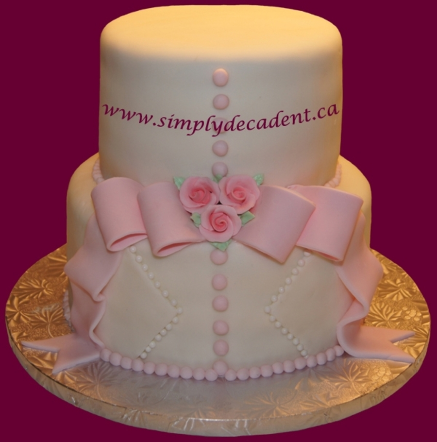 Wedding Shower Cake - Roses & Ribbons on Cake Central