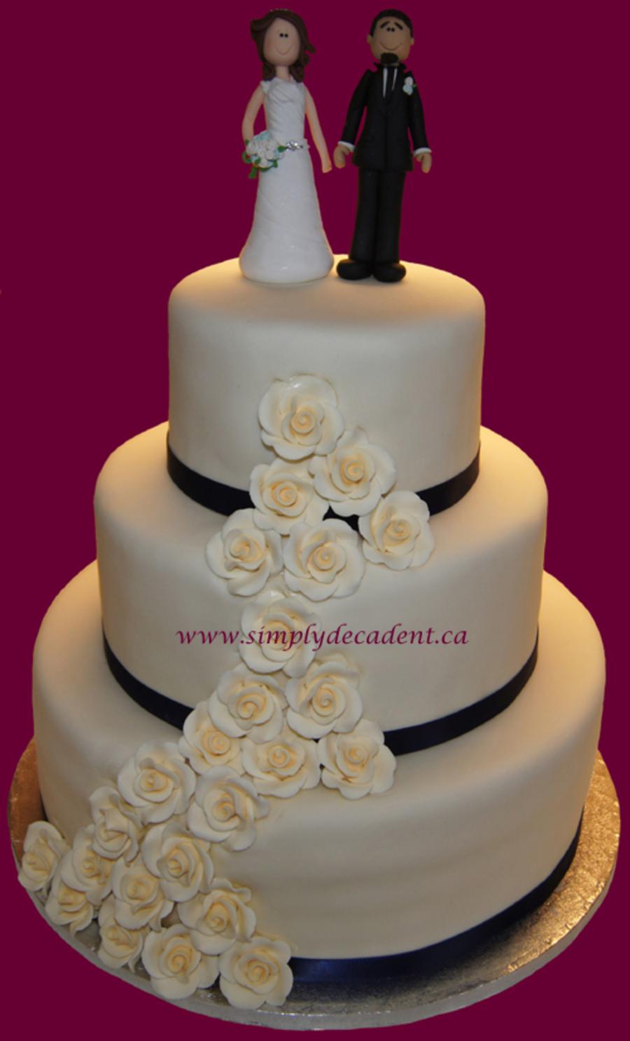 Ivory And Blue Wedding Cakes