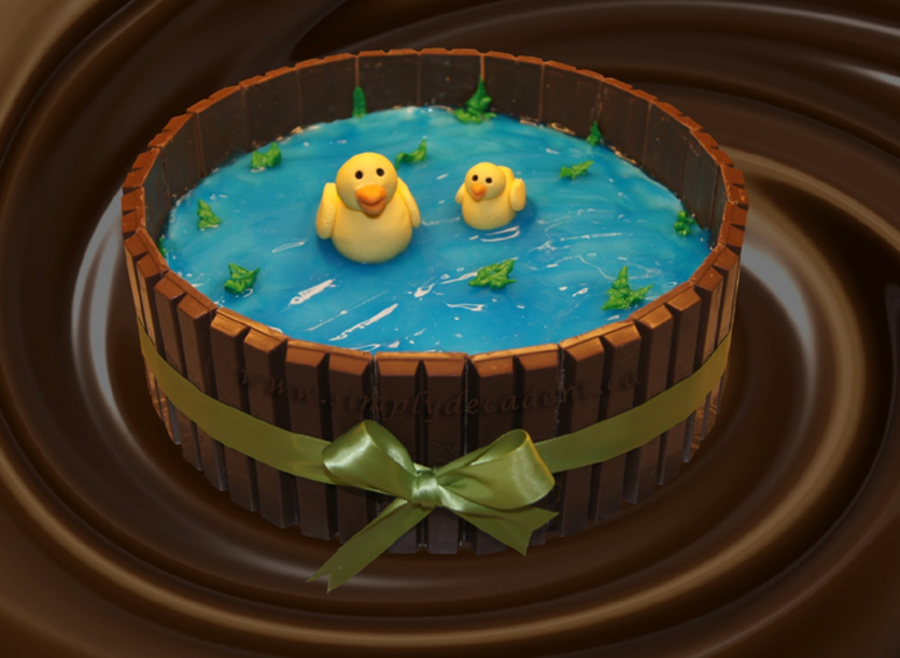 Pleasant Kit Kat Barrel Birthday Cake With Fondant Ducks Cakecentral Com Funny Birthday Cards Online Alyptdamsfinfo