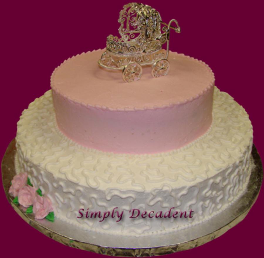 Pink U0026 White Buttercream Baby Shower Cake