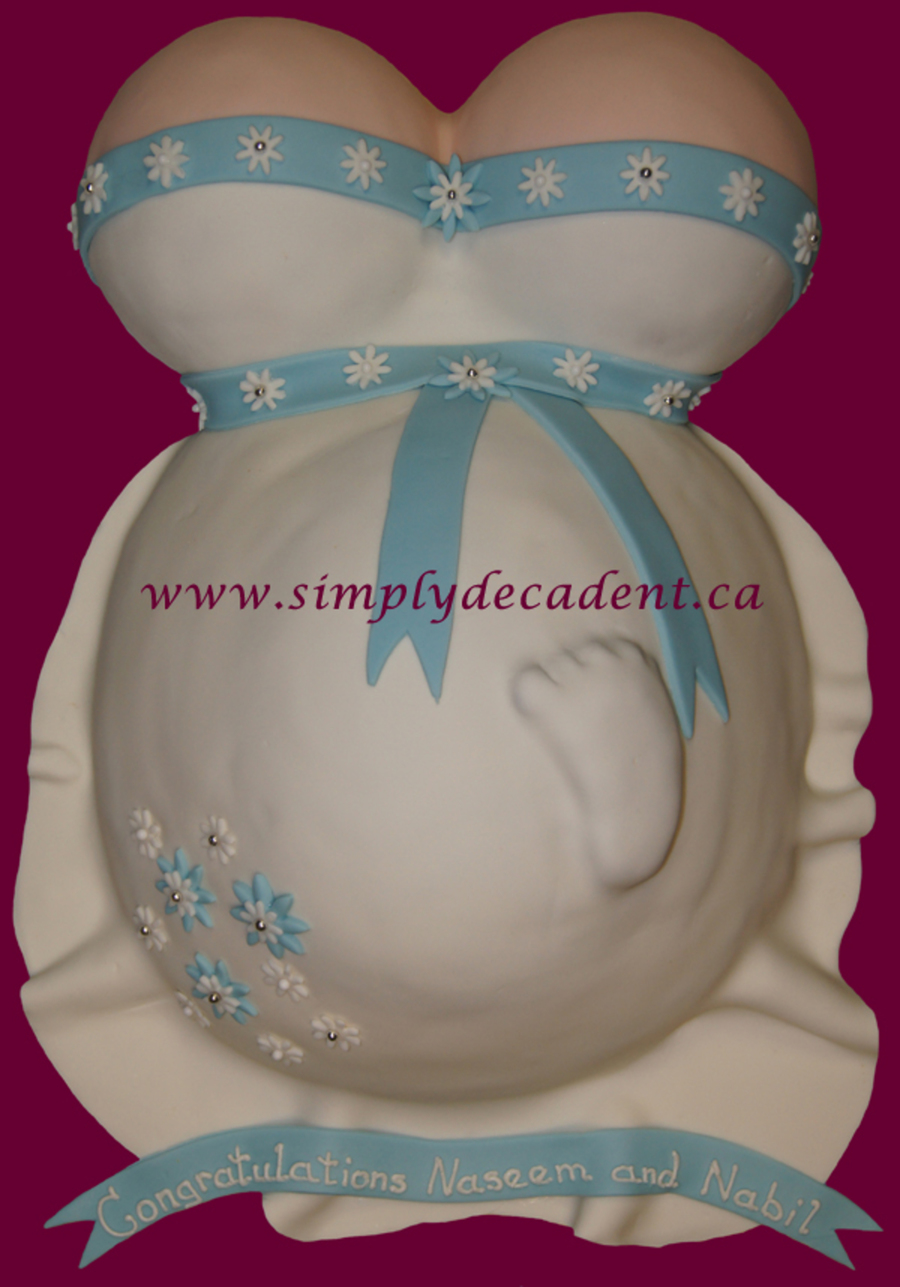 Pregnant Tummy With Baby Foot Impression Shower Cake on Cake Central
