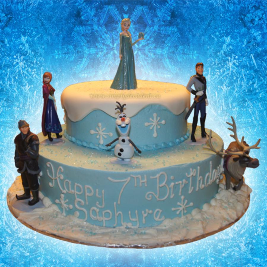 Disney Frozen 2 Tier Fondant Birthday Cake With Elsa The Snow Queen