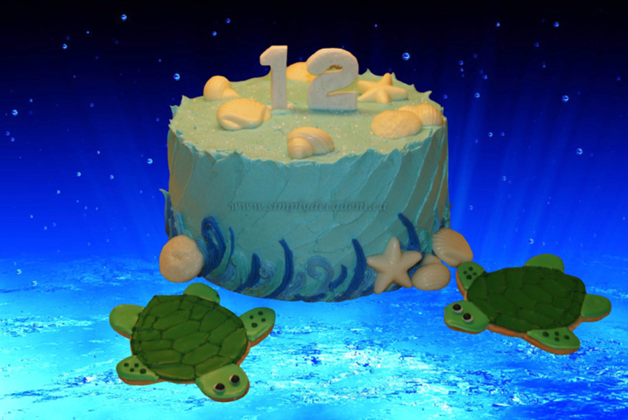 Under The Sea Birthday Cake With Turtle Sugar Cookies And White Chocolate Shells on Cake Central