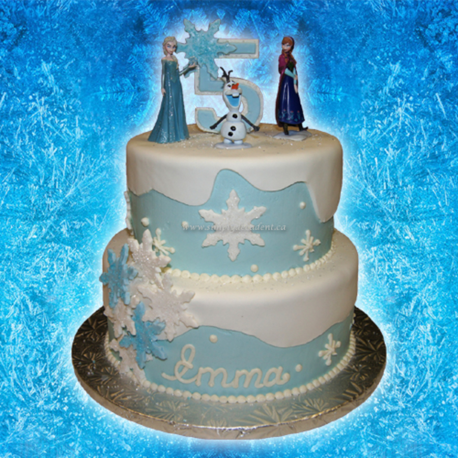 2 Tier Buttercreamfondant Disney Frozen Birthday Cake With Anna Elsa