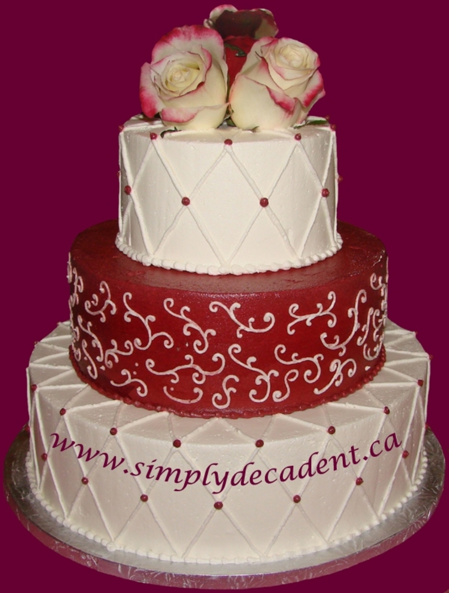 3 Tier Red & White Buttercream Wedding Cake on Cake Central