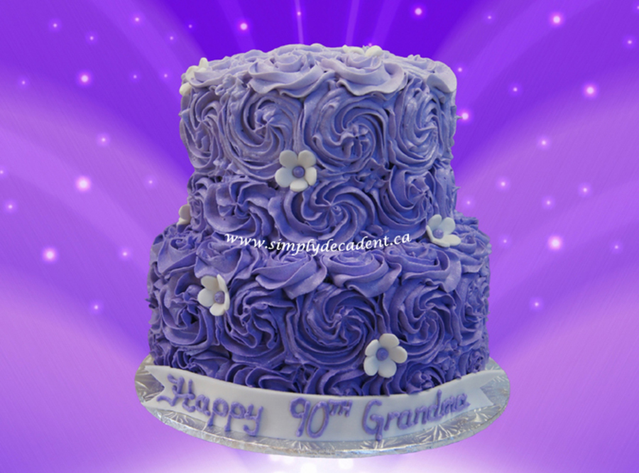 2 Tier Purple Buttercream Rosette Birthday Cake