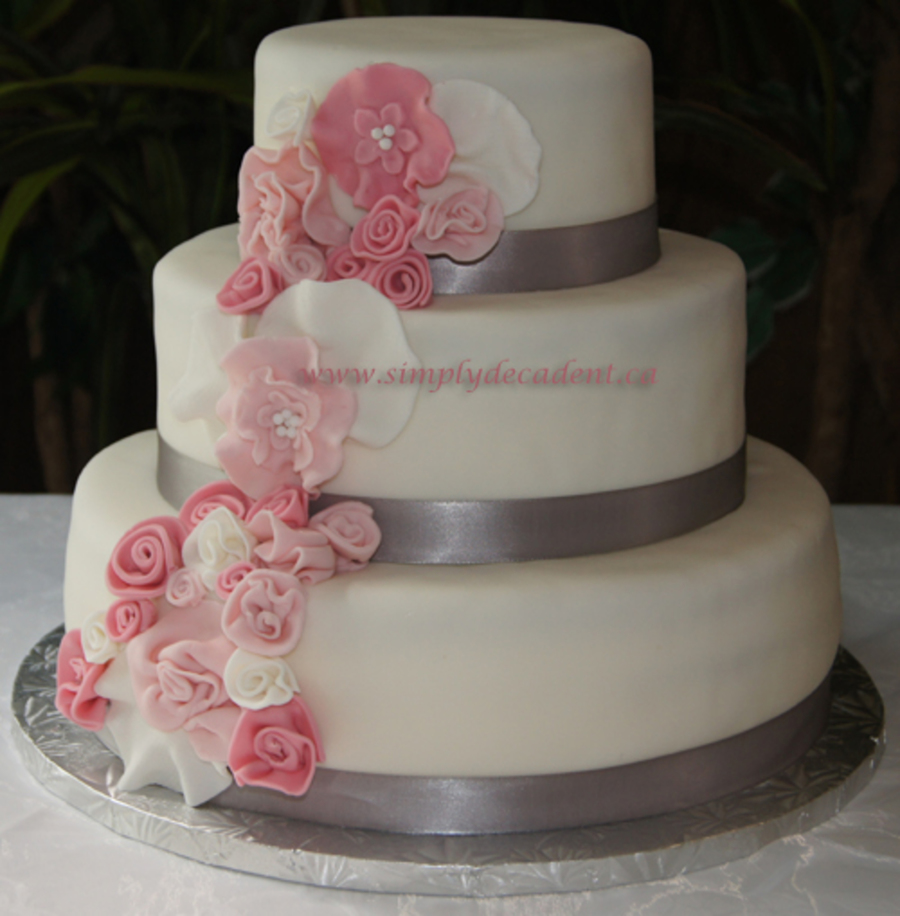 Cake With Fondant Photos : 3 Tier Fondant Wedding Cake With Spray Of Pink Fondant ...