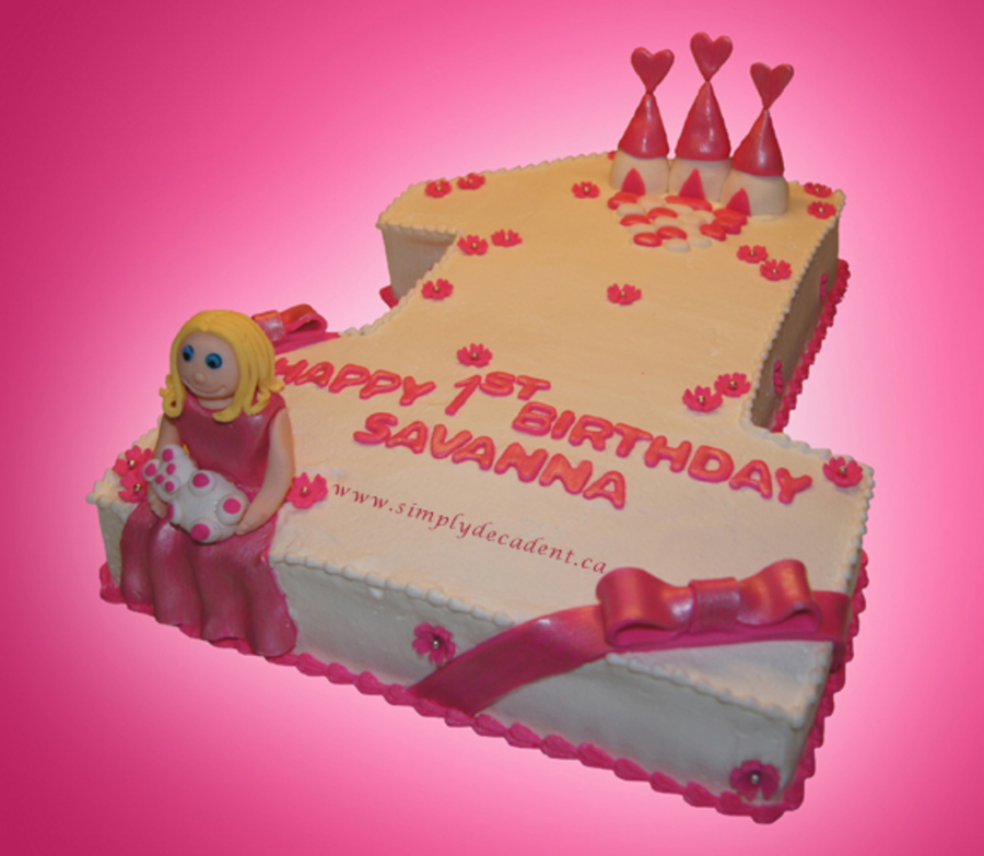 Sculptured Buttercream 1 Birthday Cake With Pink Fondant