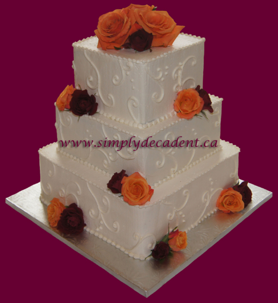 3 Tier Square Buttercream Wedding Cake With Scrolling Amp Flowers on Cake Central
