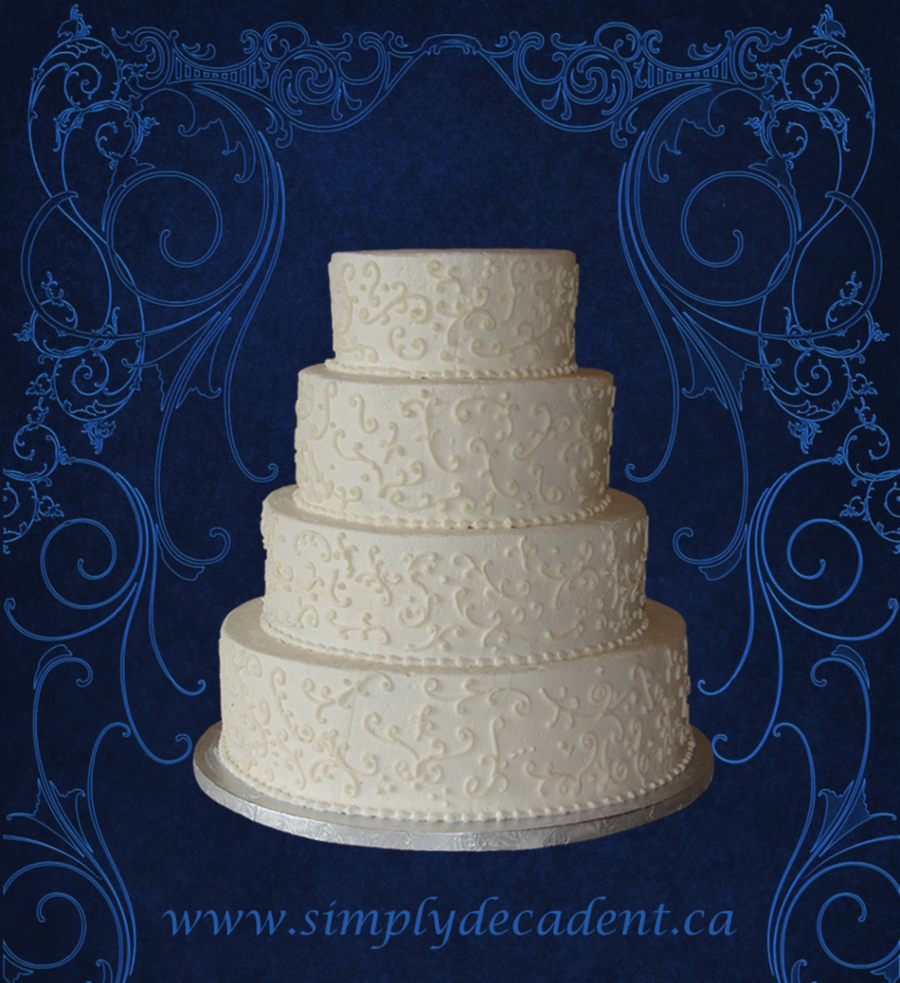 4 Tier Buttercream Wedding Cake With Buttercream Scrolling on Cake Central