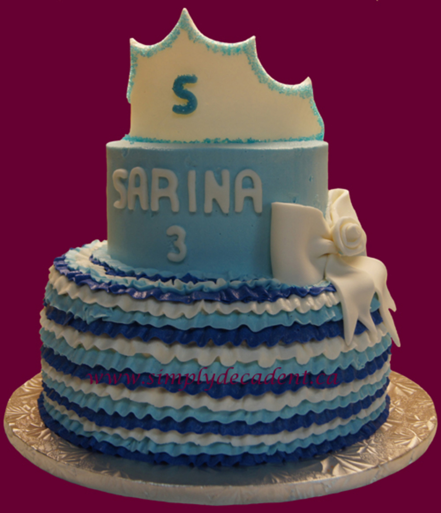 Birthday Cake Cinderella Ruffle Cake With Princess Crown on Cake Central