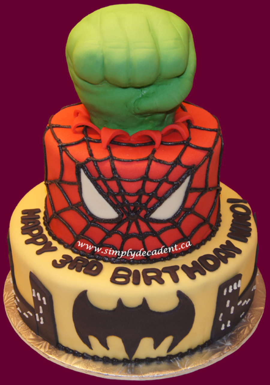 Superhero Birthday Cake Hulk Spiderman Amp Batman Cakecentralcom