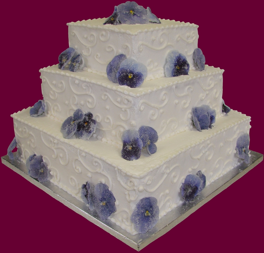 3 Tier Buttercream Wedding Cake With Sugared Pansies on Cake Central