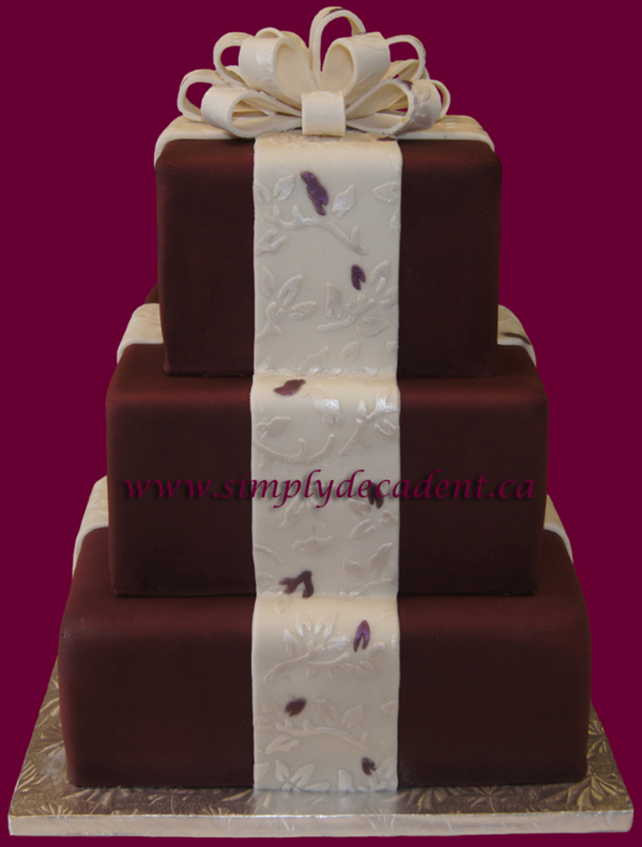 Burgundy Wedding Cake With Textured Ribbon  on Cake Central