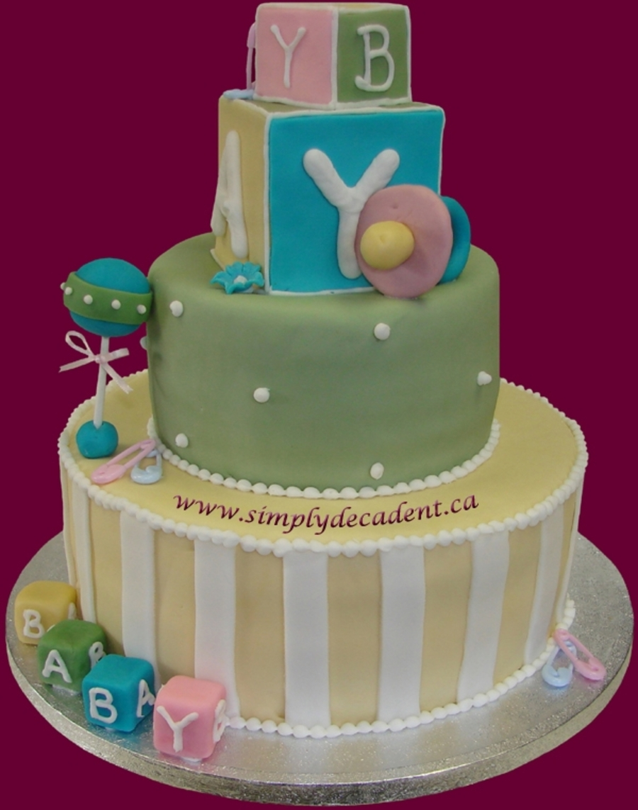 Baby Shower Cake With Blocks, Rattle & Soother on Cake Central