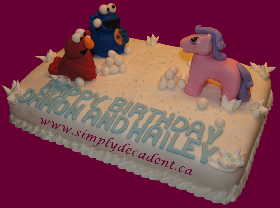Elmo Cookie Monster And My Little Pony Snowball Fight Birthday Cake on Cake Central