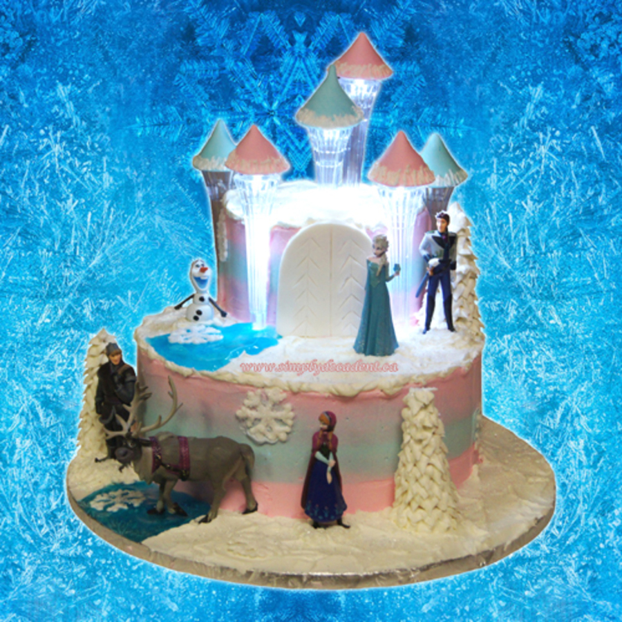 2 Tier Buttercream Disney Frozen Castle Cake With Illuminated Pillars on Cake Central