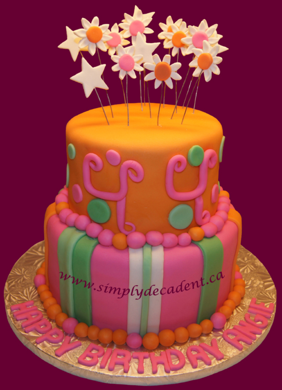 2 Tier Fondant Birthday Cake With Daisies Amp Stars on Cake Central
