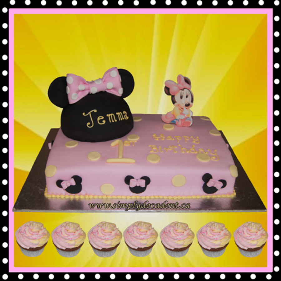Stupendous Disney Baby Minnie Mouse 1St Birthday Cake With Minnie Mouse Ears Personalised Birthday Cards Veneteletsinfo