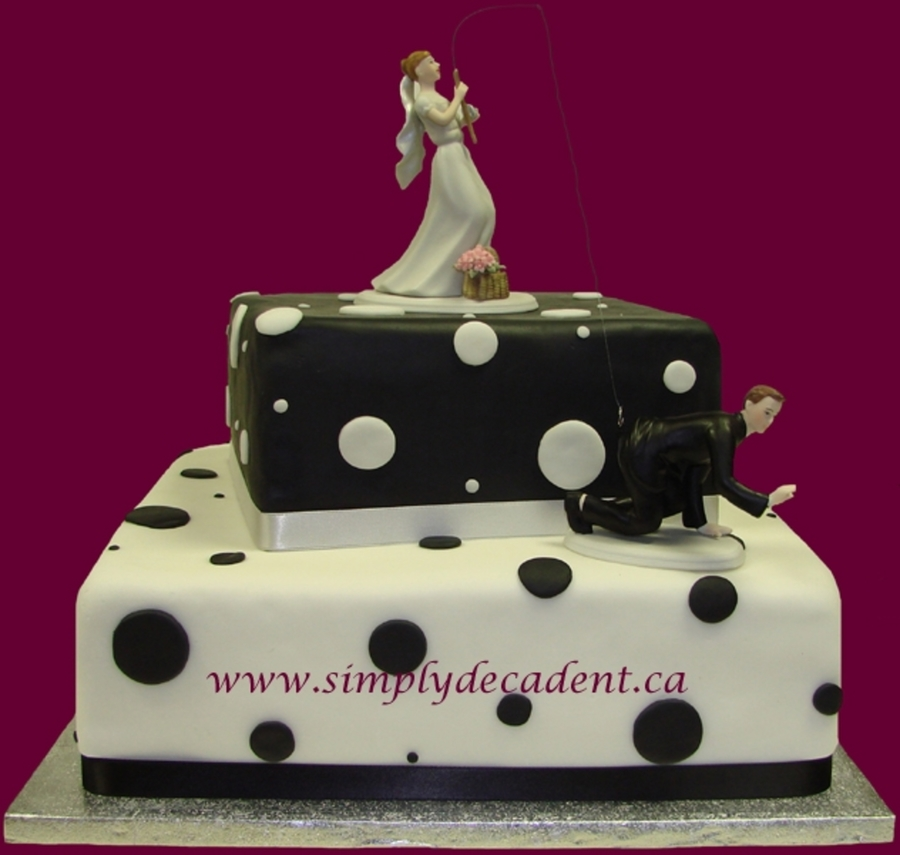 2 Tier Black & White Polka Dot Wedding Cake on Cake Central