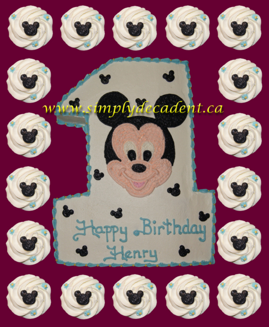 Sculptured 1 With Mickey Mouse Amp Cupcakes  on Cake Central