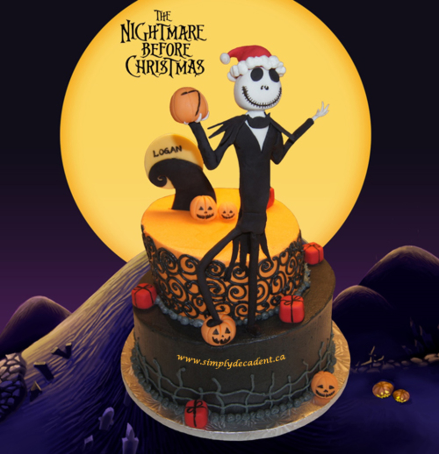 Nightmare Before Christmas Birthday Cake 2 Tier Buttercream Topsy ...