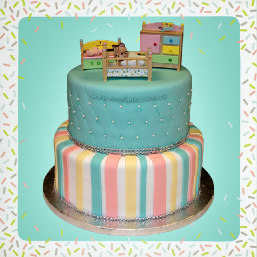 2 Tier Gender Neutral Baby Shower Cake With Baby Furniture