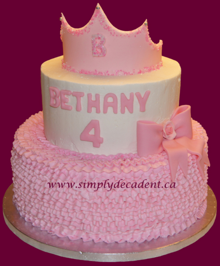 Princess Birthday Cake With Pink Ruffles Pink Bow Amp Fondant Crown