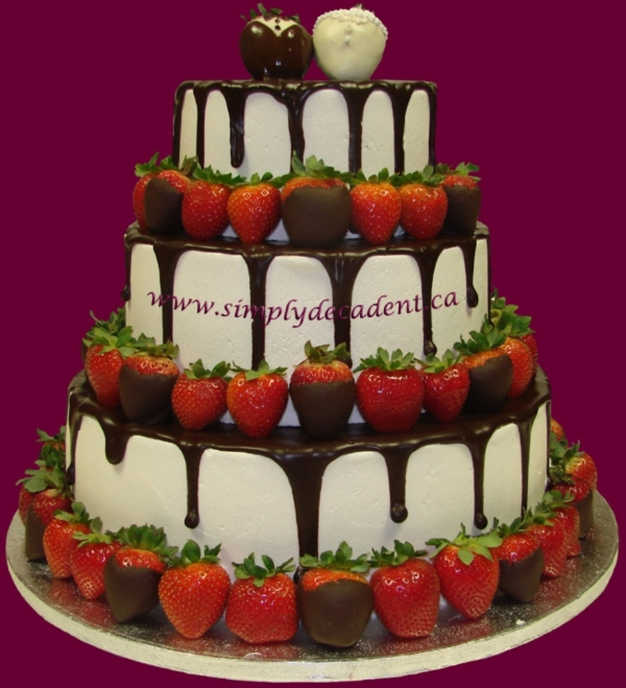 Wedding Cake With Chocolate Dipped Strawberries And Ganache  on Cake Central