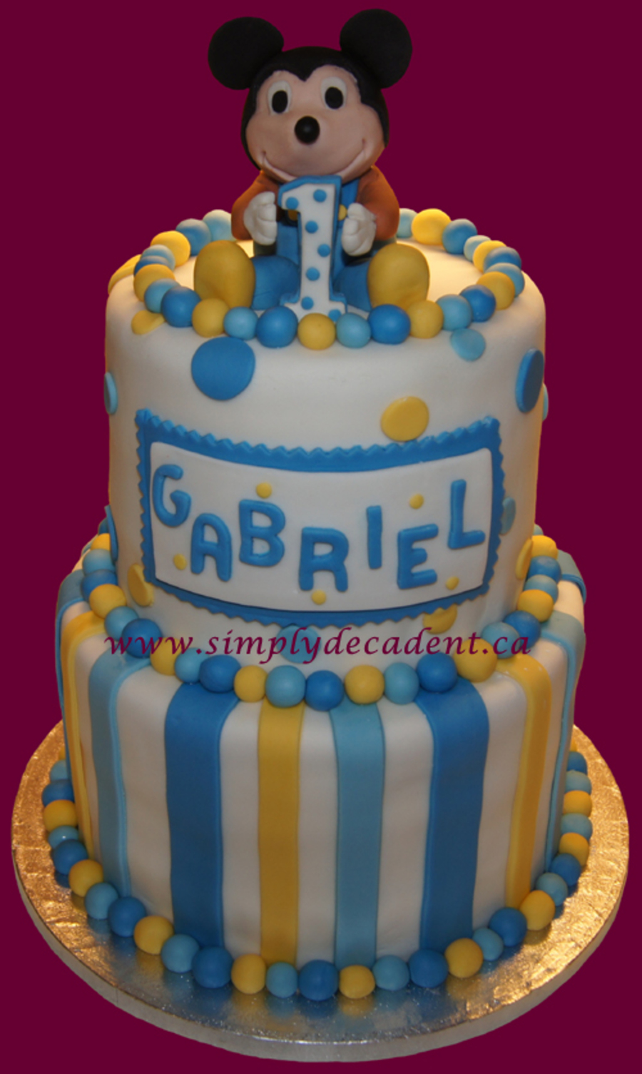 Remarkable Fondant Baby Mickey Mouse 1St Birthday Cake Cakecentral Com Personalised Birthday Cards Bromeletsinfo